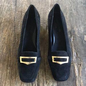 "Anne Klein Black Suede Leather Heels ""Marhombus"" 6"